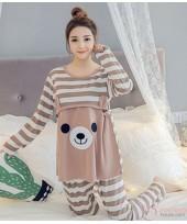 Mamma Pajamas - Long Bear Stripe Brown