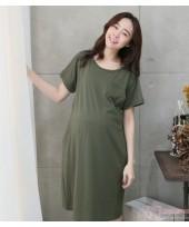 Nursing Dress - Simple Dark Green