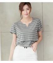 Nursing Tops - V Neck Stripe Grey