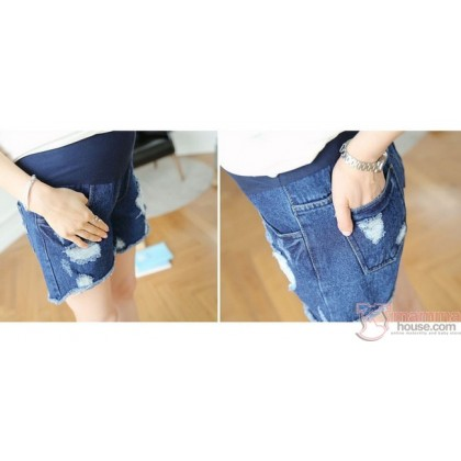 Maternity Shorts - Destructed Blue Jeans