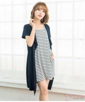 Nursing Dress - Inner Stripe Dark Blue