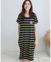 Nursing Dress - Stripe Yellow Monkey