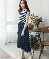 Nursing Dress - Stripe Chiffon Dark Blue