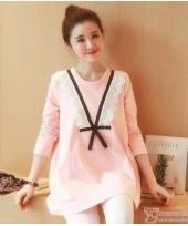 Maternity Tops - V Ribbon Lace Pink