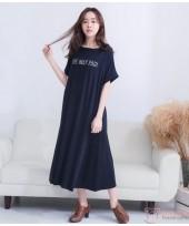Nursing Dress - May Long Dark Blue