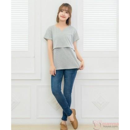Nursing Tops - Little Neck V Grey