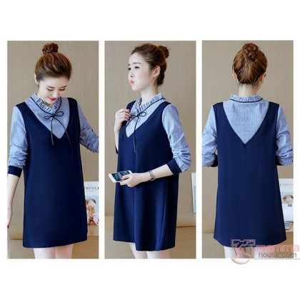 Maternity Dress - Long Ribbon V Dark Blue