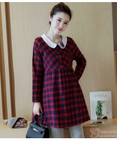 Maternity Blouse - Collar Grid Red