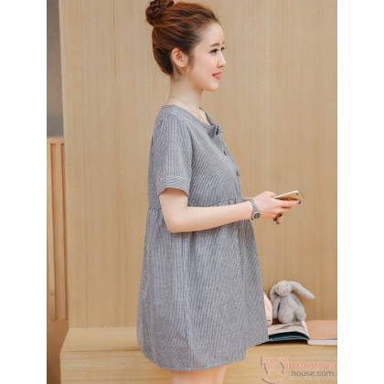 Maternity Blouse - Mid Ribbon Grey