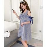 Nursing Dress - Ribbon Shoulder Stripe Blue