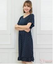 Nursing Dress - Smooth Polka Dark Blue