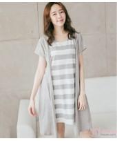 Nursing Dress - Forge 2pcs Stripe Grey