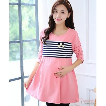 Nursing Tops - Long Pearl Stripe Pink