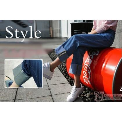 Maternity Jeans - Straight Fold Dark Blue