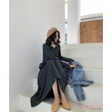Maternity Dress - Long Cotton Dark Grey