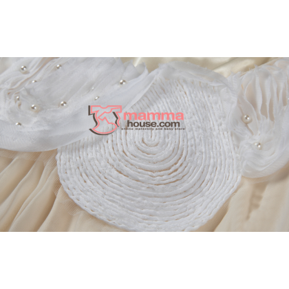 Maternity Dress - Korean Pearl Chiffon Pink White Dress