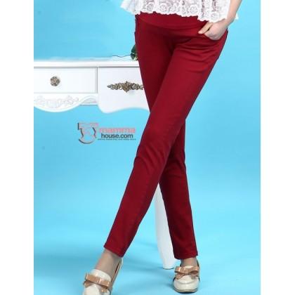 Maternity Pants - Slim Straight Wine Red