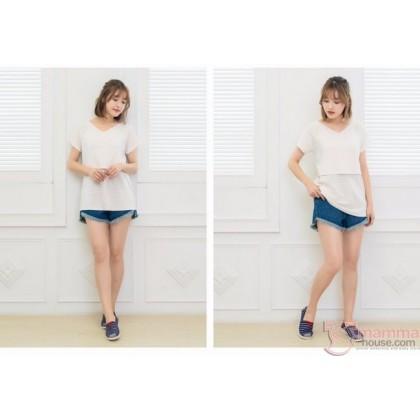 Nursing Tops - V Stripe White Pink