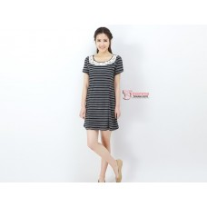 Nursing Dress - JP Lace Collar Stripe Black