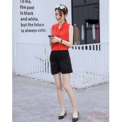 Maternity Shorts - Black Shorts Lace Opening