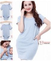 Nursing Set - Stripe Light Blue Short (plus baby romper)