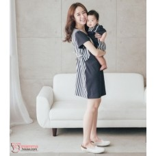 Nursing Set - Vert Stripe Dark Blue (plus baby romper)