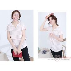Nursing Tops - Stripe V Pink