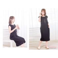 Nursing Dress - Long Simple Black