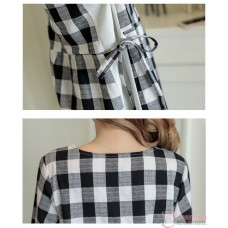 Maternity Blouse - Long Grid Black