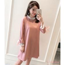 Maternity Blouse - Long Chiffon Lace Pink