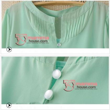 Maternity Tops - Korean Chiffon Green