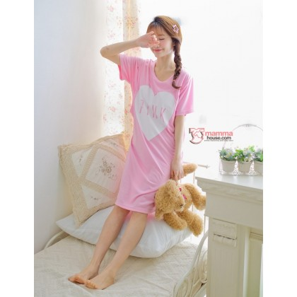 Maternity Nursing Pajamas - Dress Love Pink Short Pink