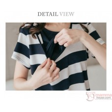 Nursing Dress - Hat Stripe Dark Blue