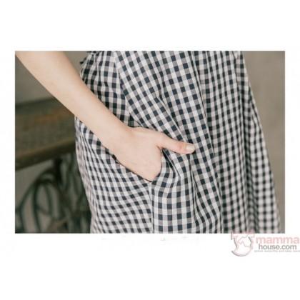 Nursing Dress - Little Grid Red