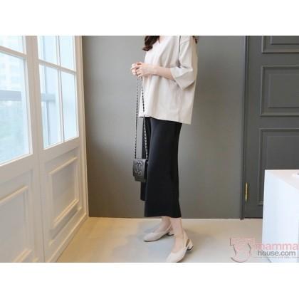 Maternity Long Pants - Trumpet Cotton Black
