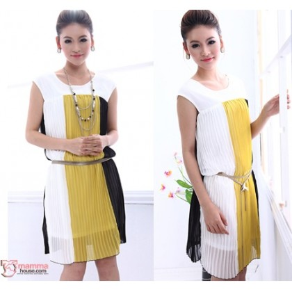 Maternity Dress - Vert Chiffon Yellow