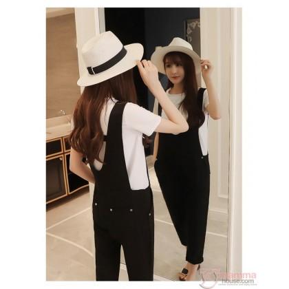 Nursing Set - Strap Black White T-shirt (2pcs set)