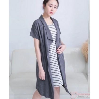 Nursing Dress - Inner Stripe Grey