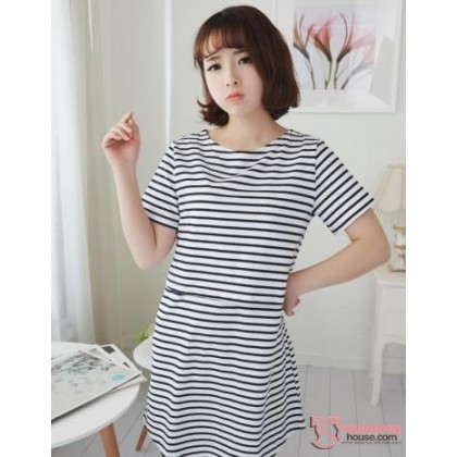Nursing Tops - KR Stripe White Blue