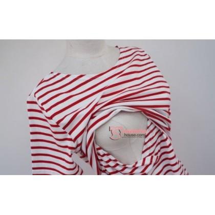 Nursing Tops - KR Stripe Red