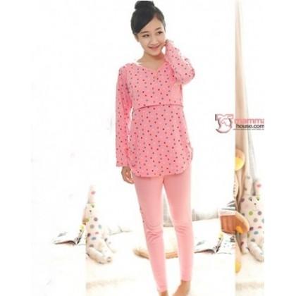 Maternity Nursing Pajamas - Long Little Bear Pink