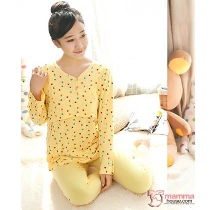 Maternity Nursing Pajamas - Long Little Bear Yellow