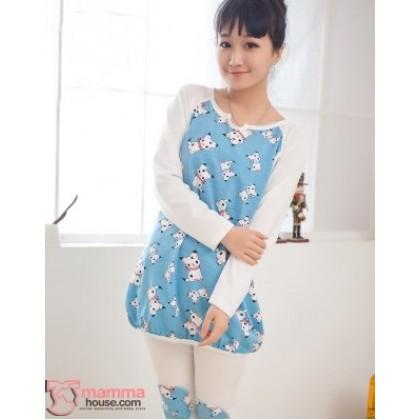 Maternity Nursing Pajamas - Long Puppy Blue