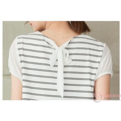 Nursing Dress - Chiffon Lace Stripe White
