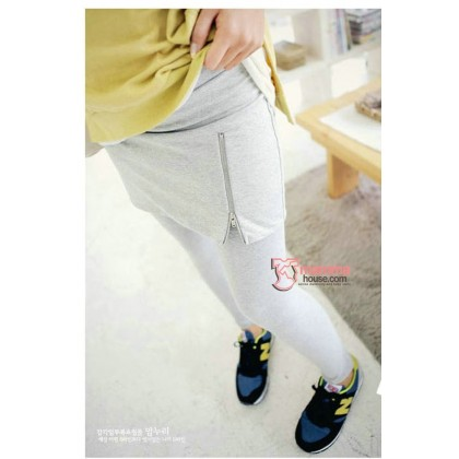 Maternity Legging - Zip Long Light Grey