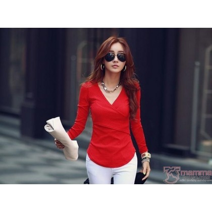 Nursing Tops - Long Cross Over Red