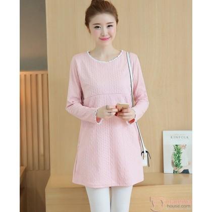 Nursing Tops - Long Knitted Pink