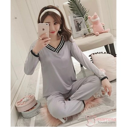 Maternity Nursing Pajamas - Long V Grey