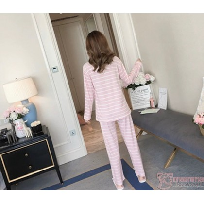 Maternity Nursing Pajamas - Mickey Stripe Pink
