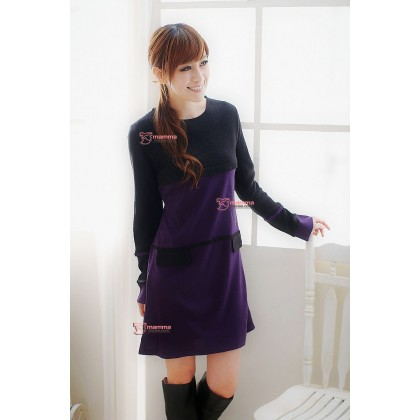 Nursing Dress - Long Pocket Dark Purple